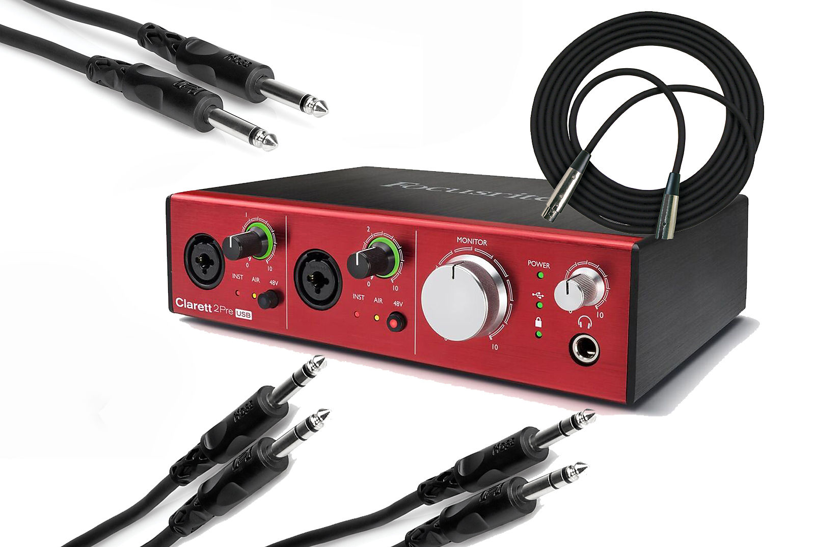 Focusrite Clarett 2Pre USB 10-In/ 4-Out Audio Interface for PC and Mac w/  MIDI & Cables Bundle