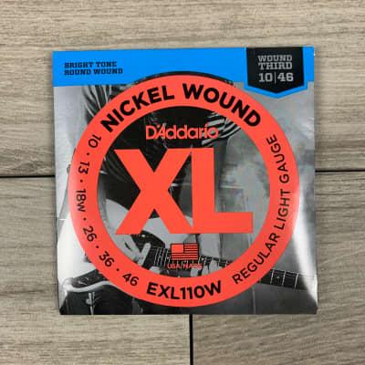 D'Addario EXL110W Nickel Wound Electric Guitar Strings, 10-46, (Wound Third) Regular Light