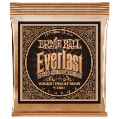 Ernie Ball Everlast Coated Phosphor Bronze Acoustic Guitar Strings - Medium (13-56)