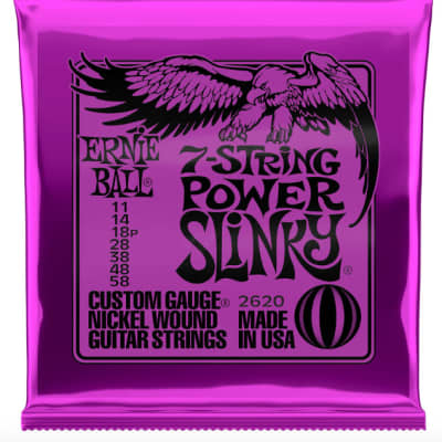 Ernie Ball Guitar Strings 7-String Power Slinky 11-58 Nickel Wound Electric 2620