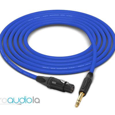 "Mogami 2549 Cable | XLR-Female to Neutrik Gold 1/4"" TRS | Blue 2.5 Feet | 2.5 Ft. | 2.5'"
