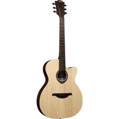 Lag Tramontane T270ASCE Slimline Satin CE Acoustic Guitar, 20 Frets, Tropical Khaya Neck, Brownwood Fingerboard, Open-Pore Satin