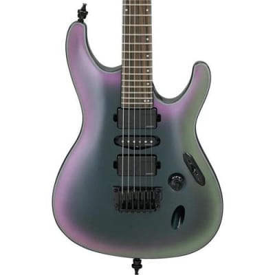 Ibanez S Axion Label S671ALB Electric Guitar, Bound Macassar Ebony Fretboard, Black Aurora Burst Gloss