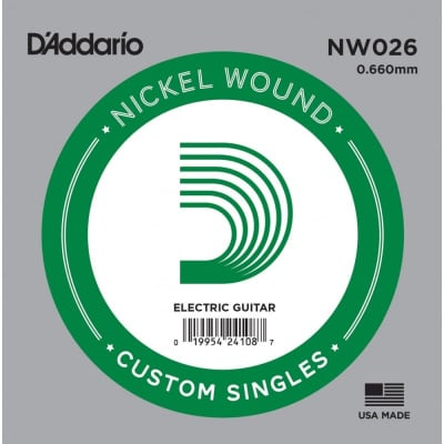 D'Addario Nickel Wound Electric Single String NW026