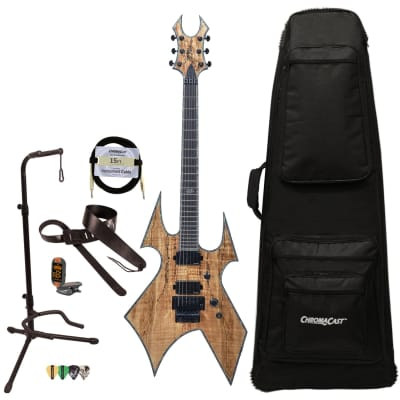 BC Rich Guitars Warbeast Extreme Exotic Electric Guitar with Floyd Rose, Case, Strap, and Stand, Spalted Maple for sale