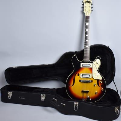 60's Maxitone Bruno Semi-Hollow Vintage Electric Guitar Sunburst Finish w/HSC for sale