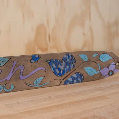 Guitar Strap - Sue pattern with Butterflies by Moxie & Oliver - Custom Inscription