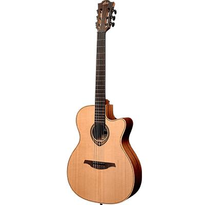 LAG TN170ASCE Auditorium Red Cedar Natural Slim Cutaway Electro Nylon Acoustic Guitar for sale