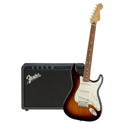 Fender Player Stratocaster 3 Tone Sunburst Pau Ferro  & Fender Mustang GT 40 Bundle for sale