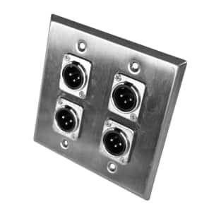 Seismic Audio SA-PLATE31 2-Gang Stainless Steel Wall Plate w/ 4 XLR Male Metal Connectors