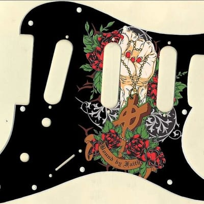 Graphical pickguard Fender Stratcaster Strat SSS 11 Hole Bound By Faith