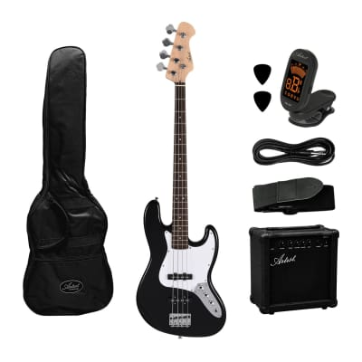 Artist JB2 Black Electric Bass Guitar Plus Accessories with Amp for sale