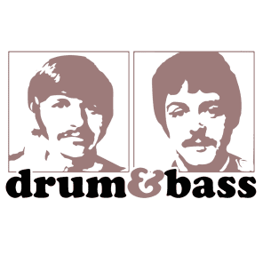 Beatles Drum and Bass Custom Printed T Shirt White - X-Large