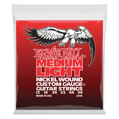 Ernie Ball Medium Light Nickel Wound w/ wound G Electric Guitar Strings - 12-54 Gauge