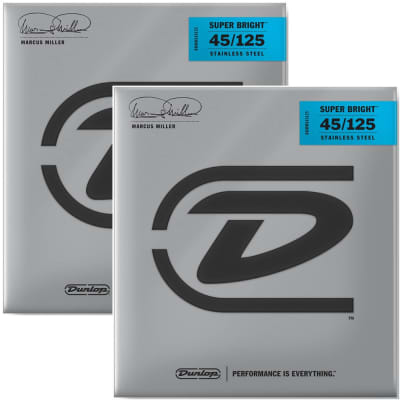 Dunlop DBMMS45125 Marcus Miller Signature Super Bright Stainless Steel Medium .045-.125 Electric Bass Strings (5 Set)