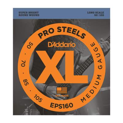 D'Addario EPS160 ProSteels Bass Guitar Strings Medium 50-105 Long Scale