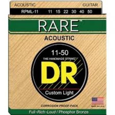DR Rare Phosphor Bronze Acoustic Guitar Strings RPML-11 Custom Light 11-50
