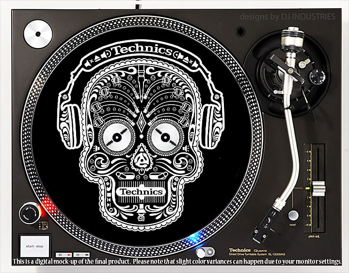 DJ Industries Technics Classic Green on Black DJ slipmat