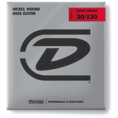 Dunlop DBSBN30130 Super Bright Nickel-Plated Steel 6-String Bass Strings - Medium (30-130)