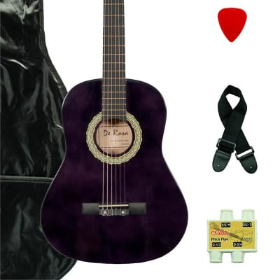 De Rosa DKF36-PL Kids Classical Guitar Outfit  Purple w/Gig Bag, Strings, Pick, Pitch Pipe & Strap for sale