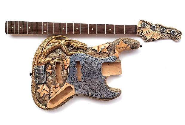 diy jazz electric bass guitar kit custom carved 3d steampunk reverb. Black Bedroom Furniture Sets. Home Design Ideas