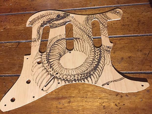 FTGP Snake Skeleton Wood Pickguard Custom For Stratocaster Upgrade
