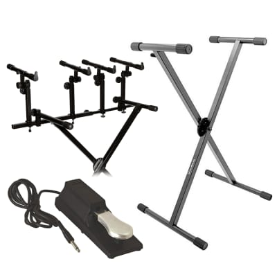 On-Stage KS8291 Ergo-Lok Double-X Lok-Tight Keyboard Stand + On -Stage KSA8500 Keyboard Tier + On St