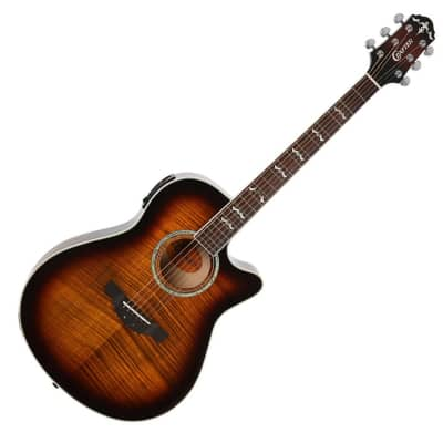 Crafter Noble Small Jumbo Flame Maple Brown Sunburst Gloss 25.5