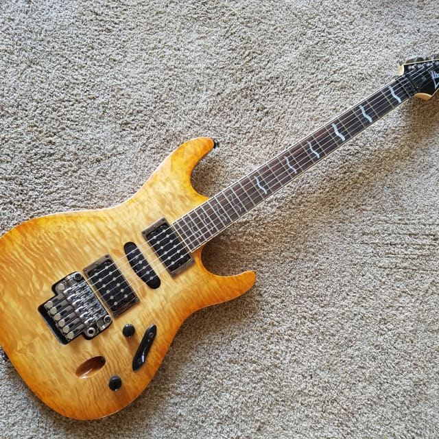 Ibanez S Series S-470 S470DXQM 2003 Orange Amber Quilt HSH Floyd Rose FR Tremelo Clean! image