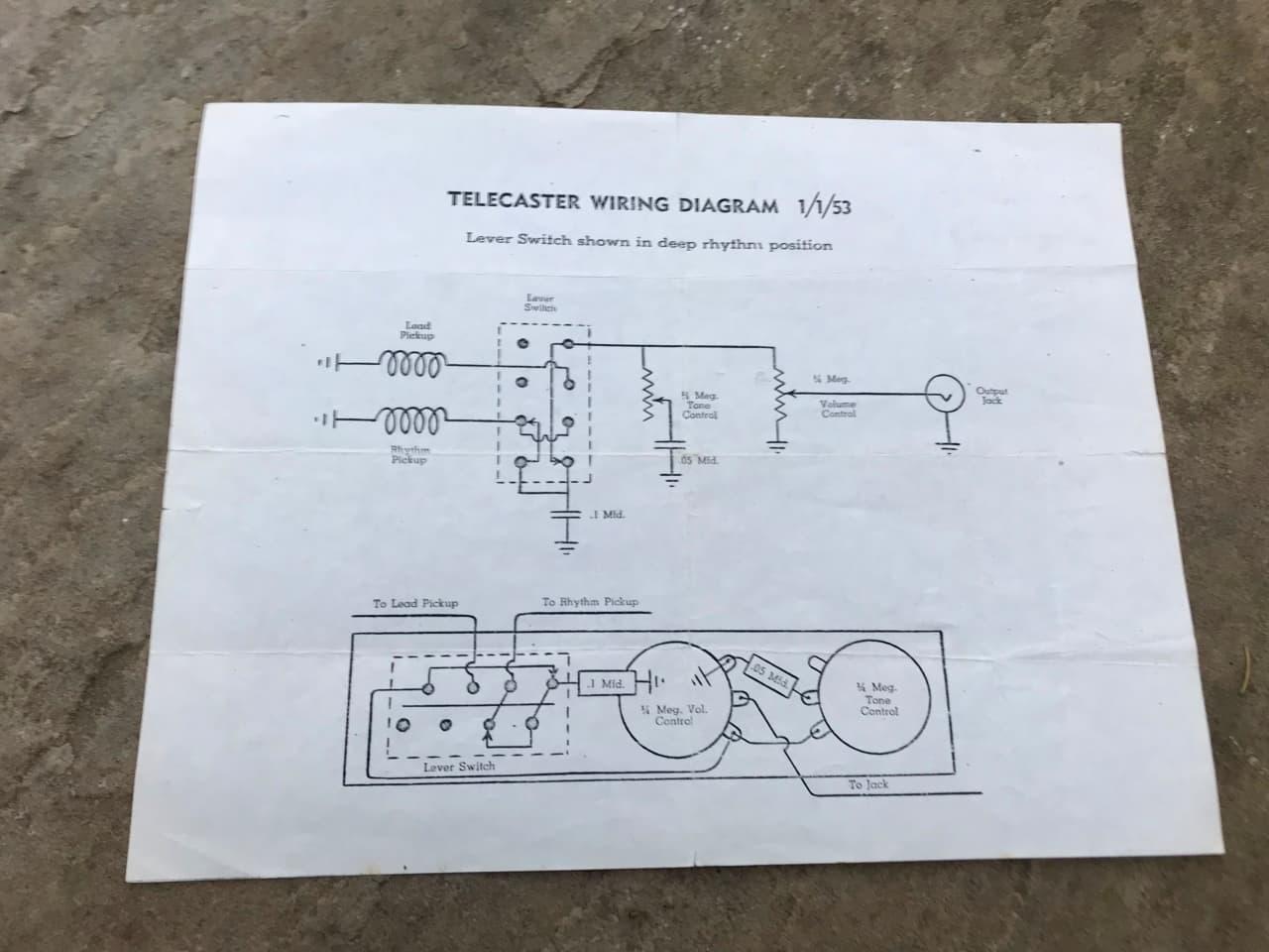 Vintage Fender Telecaster wiring diagram 1953 | Reverb