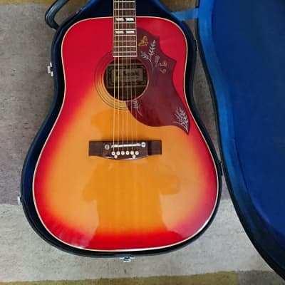 Kiso Suzuki Acoustic Guitar. Dreadnought. Hummingbird Cherry sunburst. 1973. for sale
