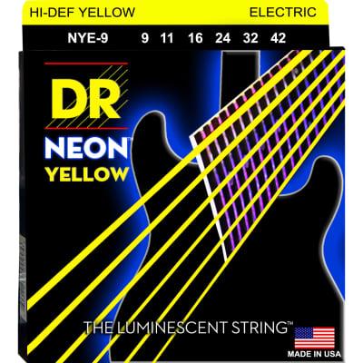 DR Strings NYE-9 Neon Hi-Def Yellow Light 9-42 Electric Guitar Strings