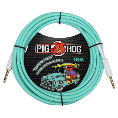"Pig Hog 20-Foot ""Seafoam Green"" Vintage Woven Instrument Cable - Straight Plugs (PCH20SG)"