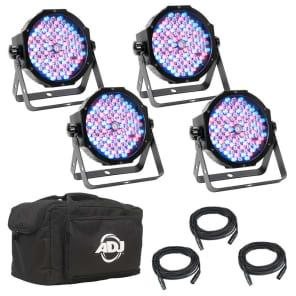 American DJ MEG555 Mega Flat Pak (4x) LED Par Light System w/ Cables, Bag