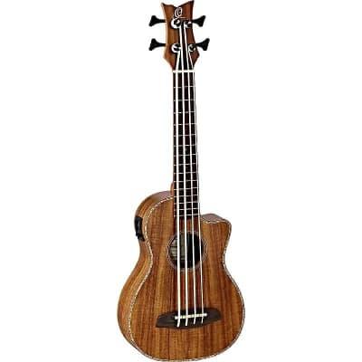 Ortega Guitars Caiman-BS-GB Lizard Series A/E Ukebass in Gloss Natural Acacia Finish for sale