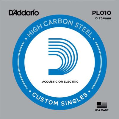 D'Addario PL010 Plain Steel Ball End .010 Single String