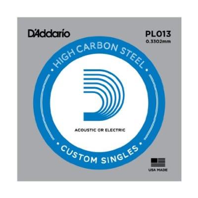D'Addario PL013 Plain Steel Single Acoustic Guitar String .013