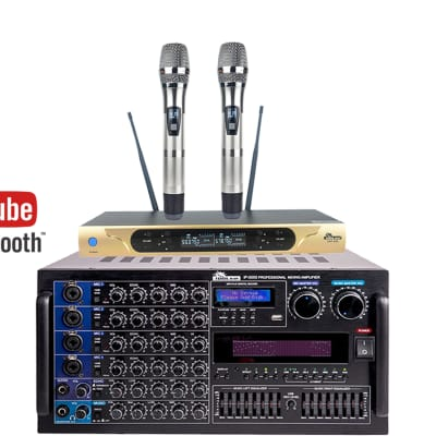 IDOLmain 6000W IP-5000 Mixing Amplifier Plus UHF-626 Dual Wireless Microphone Home Karaoke Package
