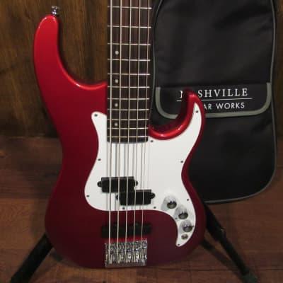 Samick Greg Bennett Corsair CR-15/MR 5 String Factory 2nd Bass Guitar in Metallic Red W/ Gig Bag for sale