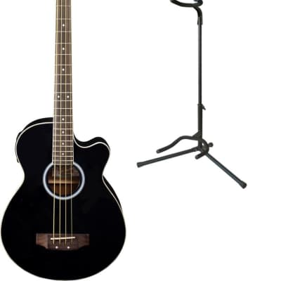 Oscar Schmidt OB100 Acoustic-Electric Bass with Gig Bag - Black, OB100B-G640 for sale