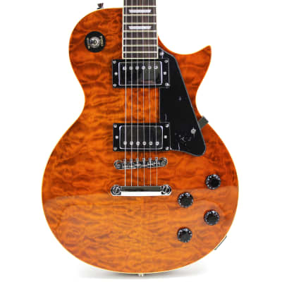 Oscar Schmidt OE20QTE Solid Body Cutaway Electric Guitar with Quilted Maple Top, Tiger Eye for sale