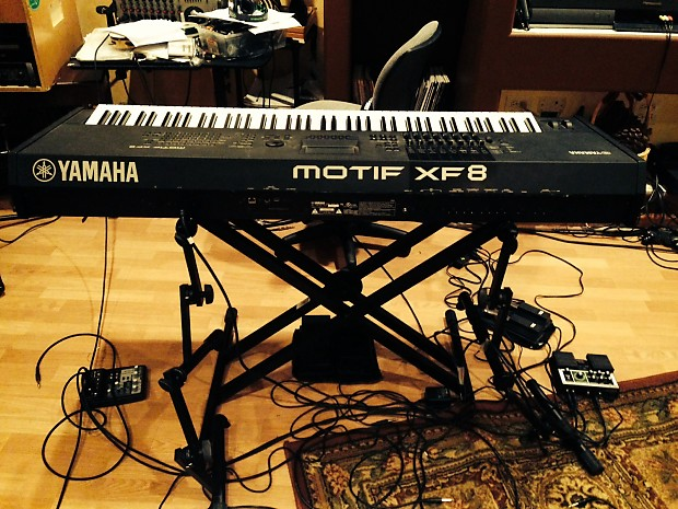 yamaha motif xf8. yamaha motif xf8 with hard case, stand, and pedals xf8 /