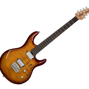 Sterling by Music Man LK100-HZB Luke Signature in Flame Maple Hazel Burst for sale