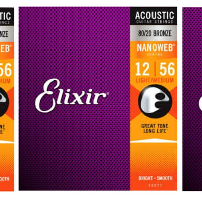 Elixir Phosphor Bronze Acoustic Guitar Strings Nano Light Medium 12-56