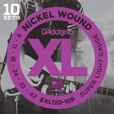D'Addario EXL120-10P 10 Pack Super Light Nickel Wound Electric Guitar Strings - 09-42 Gauge