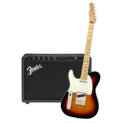 Fender Player Telecaster Left Hand 3 Tone Sunburst Maple Neck & Fender Mustang GT 40 Bundle for sale