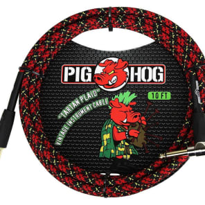 """Pig Hog PCH10PLR 1/4"""" TS Straight to Right-Angle Instrument Cable - 10'"""