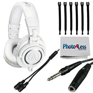 Audio-Technica ATH-M50xWH Professional Studio Monitor Headphones White + Bundle!