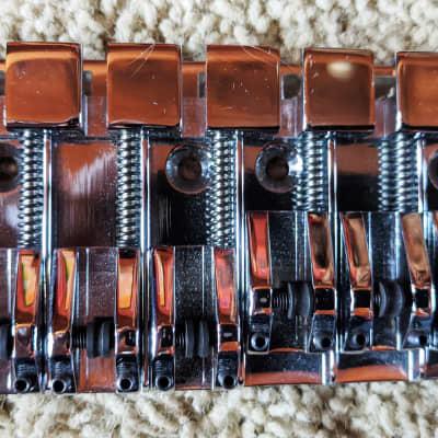 NOS ABM 6 String Roller Bass Bridge, Brass, Chrome, Top Mounted, 15mm, Adjustable, German for sale