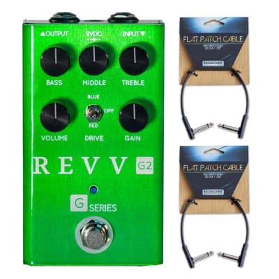 Revv Amplification G2 Distortion Pedal w/ (2) Flat Patch Cables